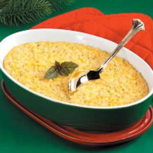 Corn Pudding, one of my favorite dishes my mother made, but she added crushed potato chips on top!