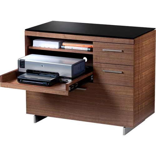 Sequel 6017 Multifunction Storage Cabinet In Walnut With Pull Out Printer Shelf