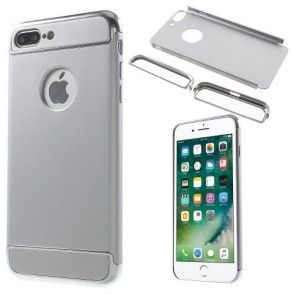 Carcasa iPhone 7 Plus, Protectie Spate si Lateral, Plastic Dur, Silver