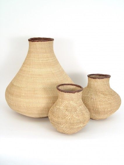 Tonga Oval Baskets - One of a Kind. $45.00. These exquisite one of a kind baskets are hand woven by the Tonga people in Northern Zimbabwe. They mimic the shape of a gourd or ceramic water vessel, and add beautiful texture and appeal to any room.