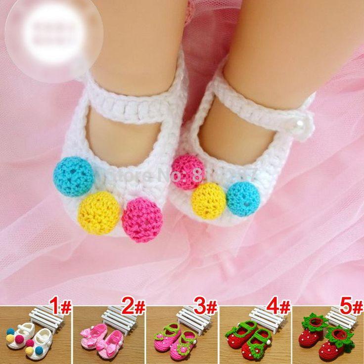 1 çift doğmuş kız bebek örme çiçekler yay bebek bebek ayakkabıları patik el yapımı ilk yürüyüşe ayakkabı tığ bebek sandalet(China (Mainland))