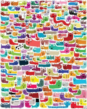 C'est une large collection de chats et d'autres gentilles bêtes, que j'ai dessinés, et une belle affiche très colorée pour les chambres des enfants.  Elle est imprimée sur p - 5441341