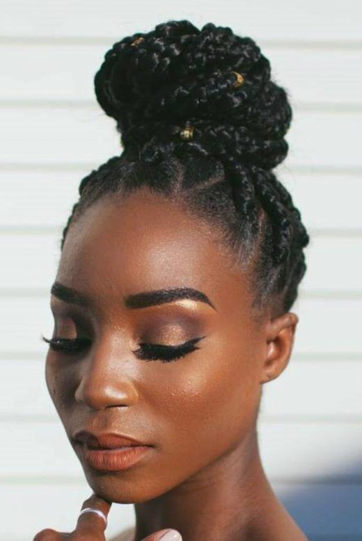 Patterned Box Braids Bun Easy Hair Braids For Children