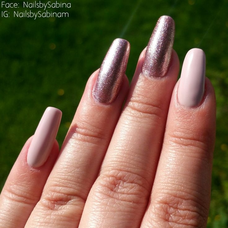 """Prohesion acrylic nails with gelish on the colours """"Prim-rose and proper"""" and """"Last call"""""""