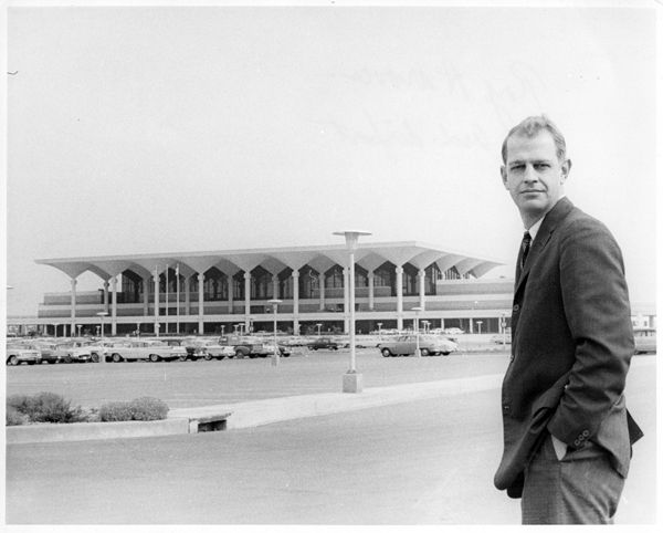 Memphis International Airport, circa 1960s. The terminal was designed by architect Roy Harrover (pictured) in the Contemporary New Formalism Style.