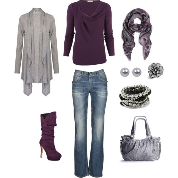 Plum with gray......very inexpensive set and looks awesome together:)Shoes, Colors Combos, Style, Fashionista Trends, Grey, Fall Outfit, Cute Outfit, Purple Boots, Plum