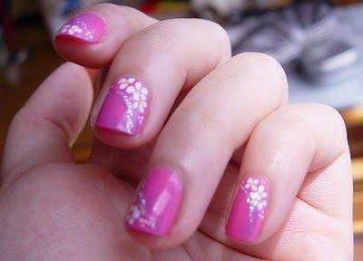 pink nail designs: Gel Nails Art, White Flowers, Shorts Nails, Nails Tips, Nails Polish Design, Pink Nails Design, Colour Nails, Nails Art Design, Flowers Decor