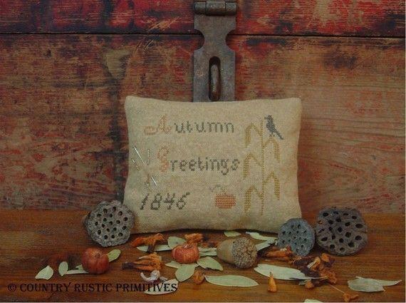 Primitive Autumn Greetings 1846 Pinkeep Sampler Cross Stitch E Pattern PDF on Etsy, $7.00