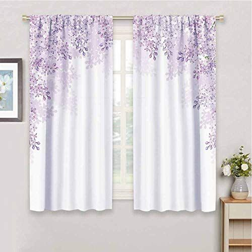 Guuvor Flower For Bedroom Blackout Curtains Framing Lilac Flowers In Blossom Vernal Season Soothing Color Shad In 2020 Curtains Lilac Bedroom Blackout Curtains Bedroom