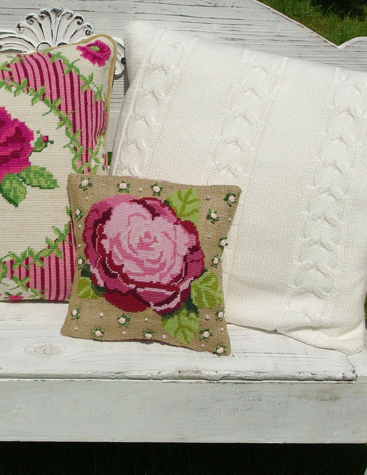 Cross stitch kit CAMELIA - needlepoint,embroidery,rose,burlap pillows,cross stitch,florals,botanical,pillow,cushion,diy kit,anette eriksson by anetteeriksson on Etsy