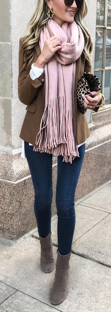 #winter #fashion /  Camel Blazer + Pink Fringe Scarf + Navy Skinny Jeans