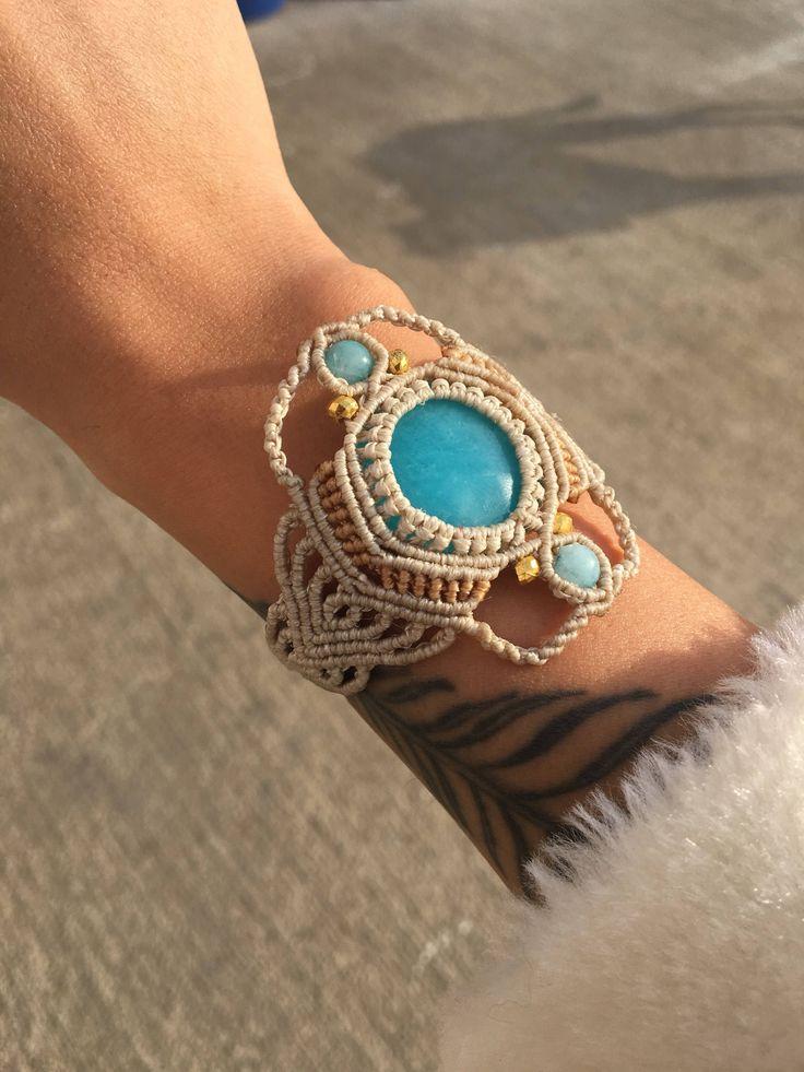 Aquamarine macrame bracelet , Macrame bracelet , Bohemian bracelet , Beaded bracelet ,Macrame jewelry ,Gemstone bracelet by BohemCrafts on Etsy https://www.etsy.com/listing/575352231/aquamarine-macrame-bracelet-macrame