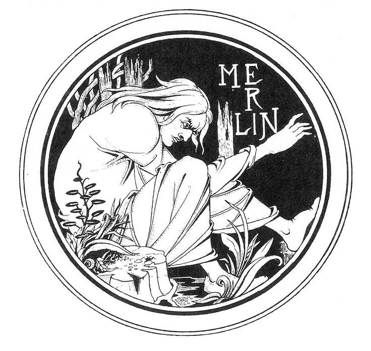 Aubrey Beardsley - Merlin, design for Le Morte d'Arthur