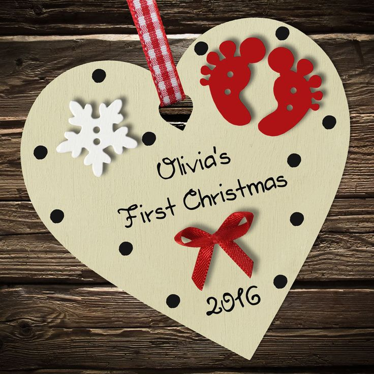Personalised Baby's First 1st Christmas Wooden Heart tree decoration ornament in Home, Furniture & DIY, Celebrations & Occasions, Christmas Decorations & Trees | eBay