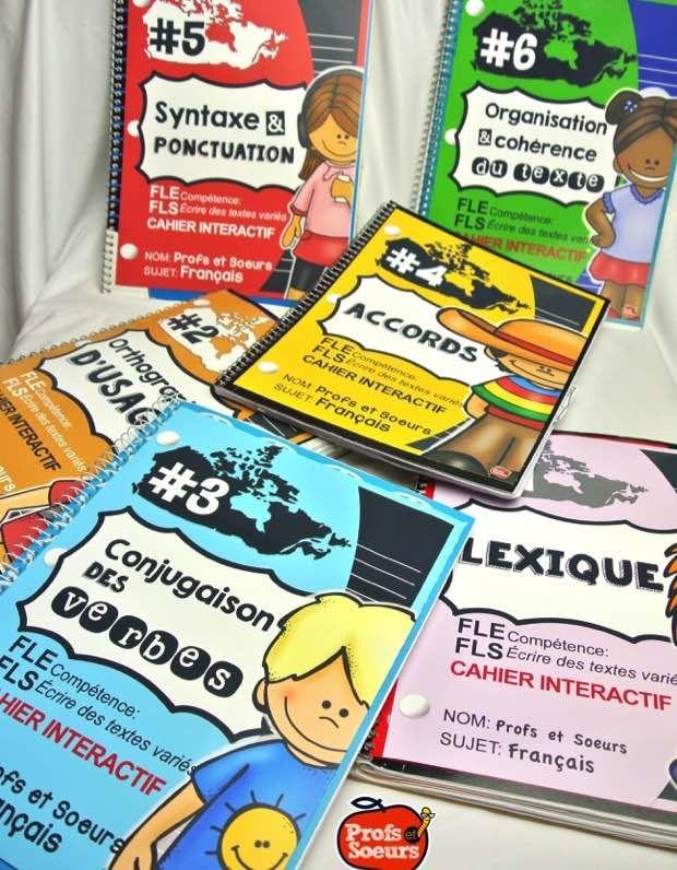 Ensemble de 6 cahiers interactifs pour couvrir toutes les connaissances de la Progression des Apprentissages, par Profs et Soeurs