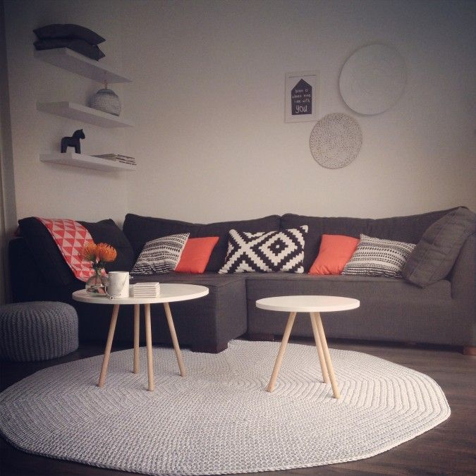 Zwart wit koraal interieur, black white and coral interior