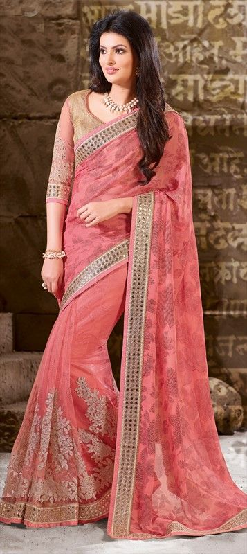 193644 Pink and Majenta  color family Embroidered Sarees, Party Wear Sarees in Faux Chiffon, Net fabric with Border, Machine Embroidery, Stone work   with matching unstitched blouse.