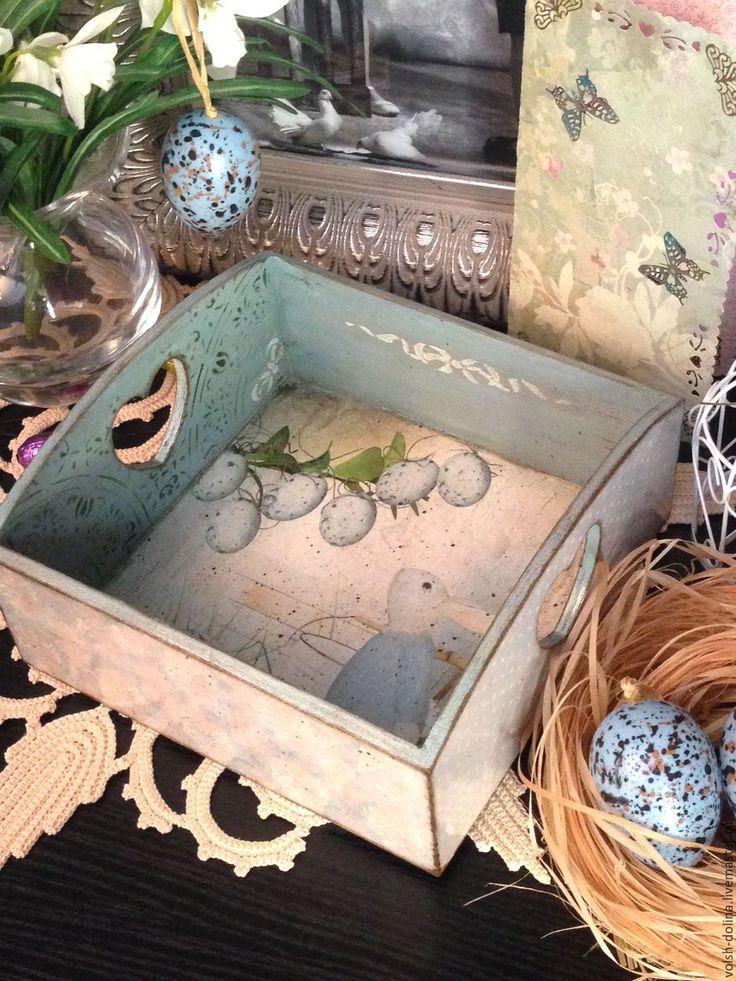 Купить Зайка с голубыми горошками, корзинка, декупаж - голубой, корзинка для яиц, пасхальный сувенир, Пасха