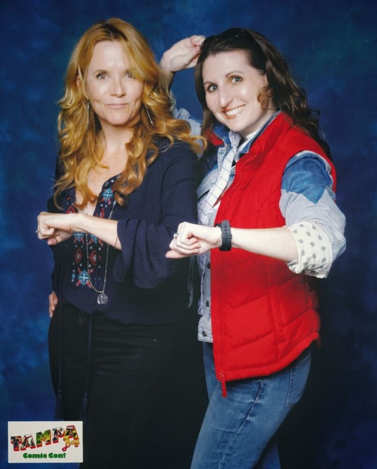 Lea Thompson (aka Lorraine Baines McFly from Back to the Future)  with me in my female Marty McFly cosplay at Tampa Bay Comic Con, August 1, 2015.