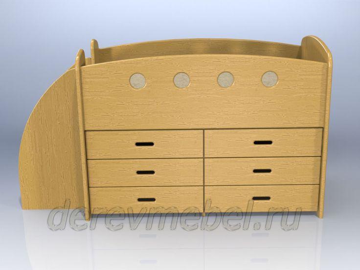 Дарья-3 кровать чердак с шестью ящиками (кровать комод) - мебель из сосны