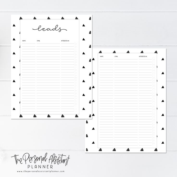 8.5x11 Lead Management Printable Business Planner Insert Pages - The Personal Assistant Business Planner