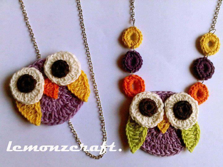 owl crochet necklace