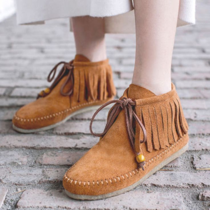 Vintage Women Tassel Lace Up Oxford Sneaker Faux Suede Stitch Flat Loafer Shoes
