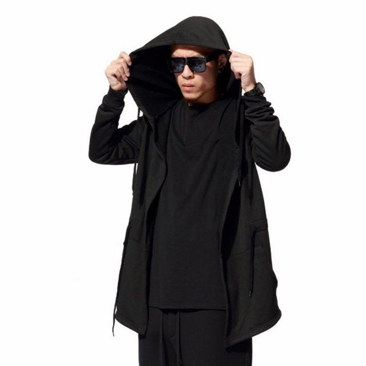 Мужчины Черный Плащ Толстовки С Длинным Рукавом Уличной Толстовки С Капюшоном Свободные Пуловеры И Пиджаки Для Мужчин