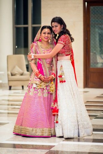 White and Red Lehenga for the sister
