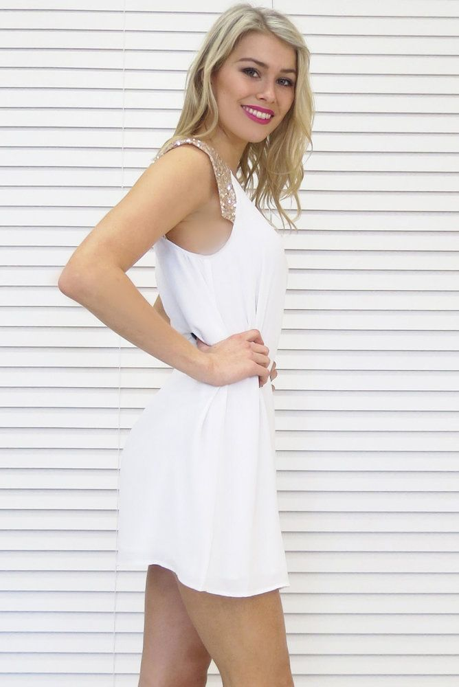Gold Wings Dress in White