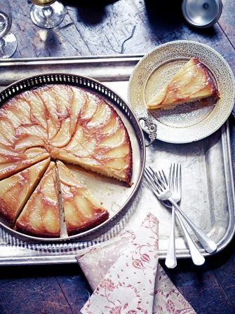 Winter ginger, pear and almond cake