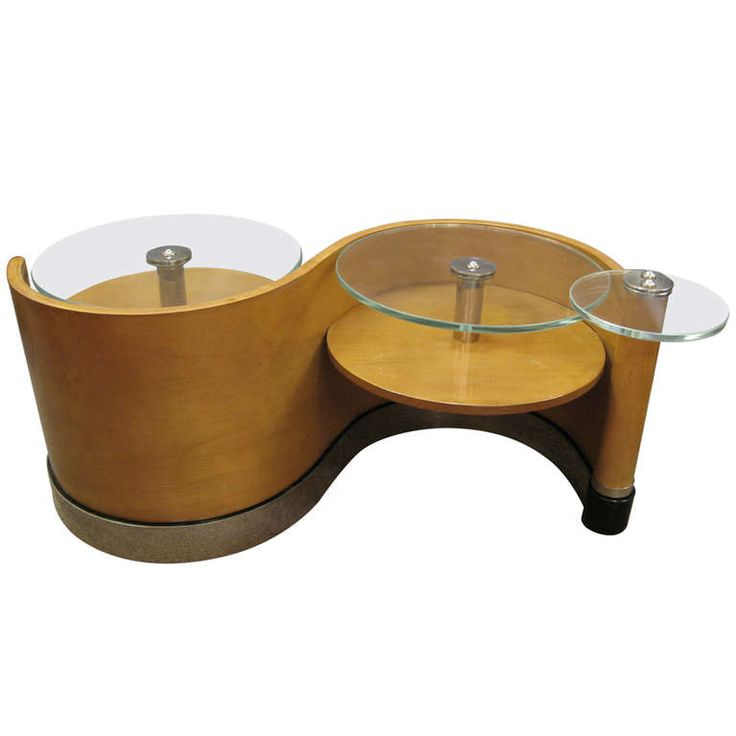 """Modernist """"S"""" curve sycamore and glass top coffee table attr'd. Jean Royere c.1940"""