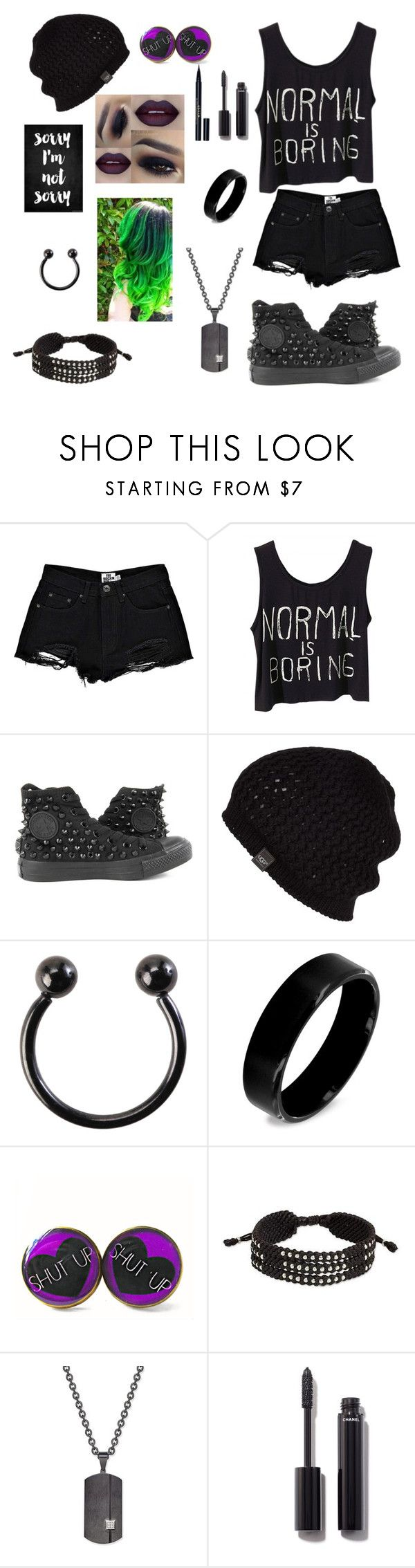 """Weird and Proud"" by beckybesel ❤ liked on Polyvore featuring Boohoo, Converse, UGG Australia, Hot Topic, West Coast Jewelry, NOVICA, Rhona Sutton, Chanel and Stila"