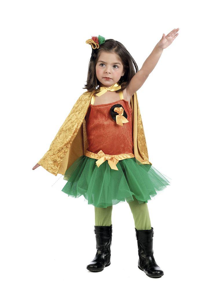 Disfraz de Robin para niña. #disfraces de #superheroes para los mas pequeños de la casa #batman #robin #caballerooscuro