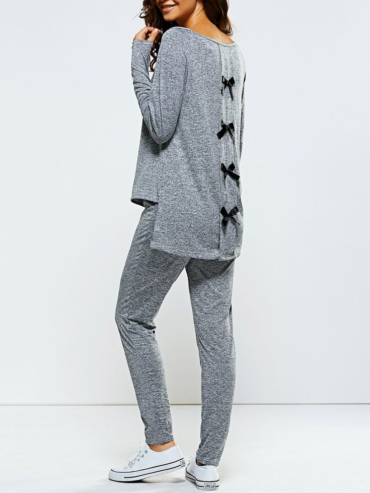 Bowknot Embellished Sports Suit in Gray   Sammydress.com