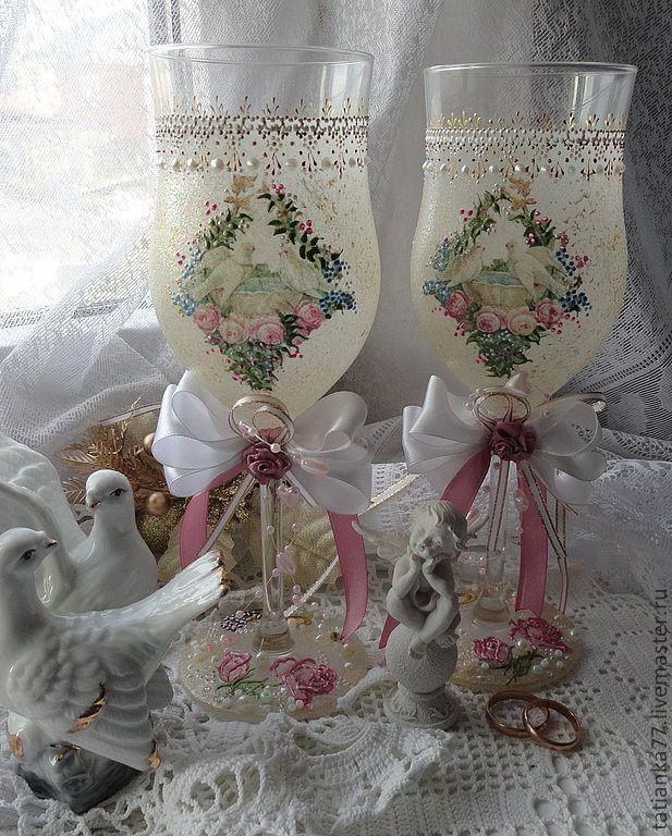 """Купить Бокалы свадебные Нежность"""" - бледно-розовый, свадьба, свадебные бокалы, свадебные аксессуары"""