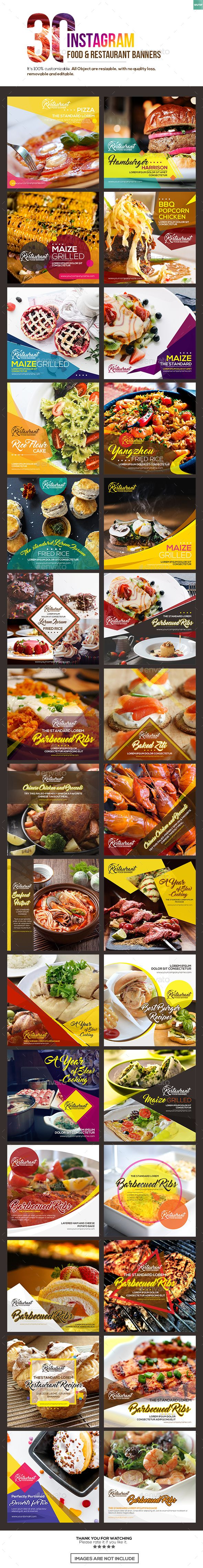 30 Instagram Food & Restaurant Banner Templates PSD