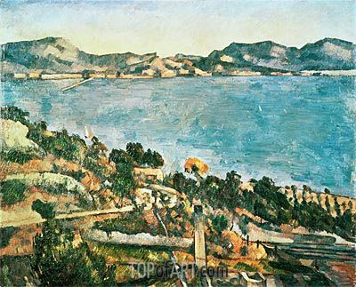 Painting Title: The Sea at l'Estaque, c.1882/85 | Artist: Paul Cezanne (1839-1906) | Fine Art Painting Reproduction by TOPofART.com