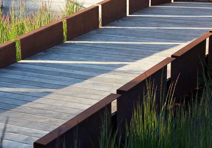 Corten Steel Footbridge leads the way to the house >> www.shapedscape.com your NEW Landscape Architecture Platform <<
