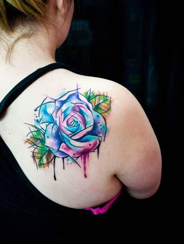 Watercolor Rose Tattoo On Back For Women 100 Meaningful Rose