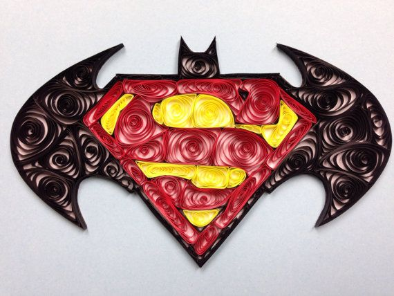 Batman Superman Logo Quilled Art 5x7 framed art by jgaCreations