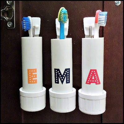 PVC Pipe Toothbrush Holders.  Could put a cap on it, too.