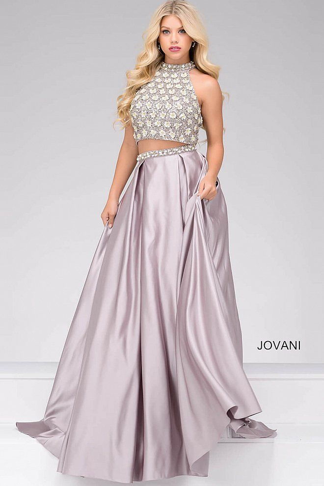 JOVANI 2018 | Silver Two-Piece Embellished Satin Prom Ballgown 46996 #prom2018