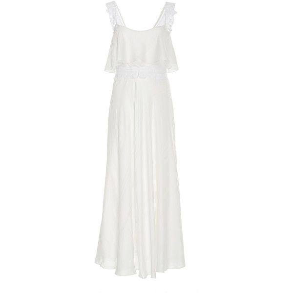 Martha Medeiros Thalia Midi Dress ($795) ❤ liked on Polyvore featuring dresses, white, flared dress, white midi dress, flared midi dress, midi flare dress and white flare dress