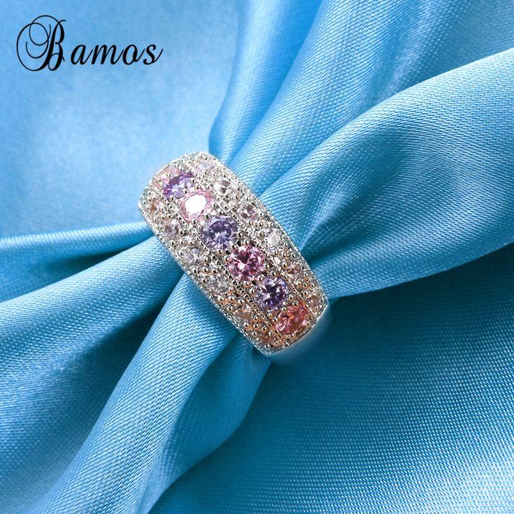 90% TANIEJ! Bamos Kobiet Księżniczka Różowy Pierścień 925 Filled Rocznika Obrączki Dla Kobiet Biżuteria Kryształ