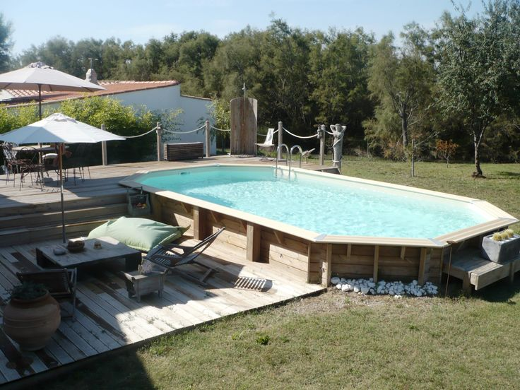 piscine hors sol en bois semi enterr e avec sa terrasse et ses jeux de niveaux outdoor pinterest. Black Bedroom Furniture Sets. Home Design Ideas