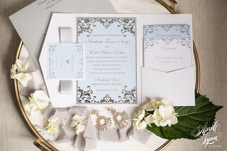 April Lynn Designs Custom Designed Luxury Wedding Invitation, Glam Pocketfold Disney Wedding Invitation Suite | Light Blue, Silver, Glitter, Sparkle www.aprillynndesigns.com