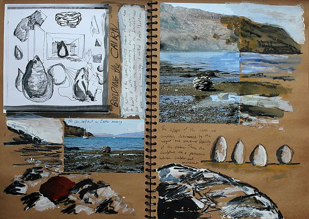 At its essence, a student sketchbook should emulate that of a practising artist. With photographs providing evidence of first-hand research, quick confident gestural drawings showing a response to this environment, and scrawled annotation, these sketchbook pages – showing the development of ideas for a sculpture entitled 'Stone Egg' – do that.