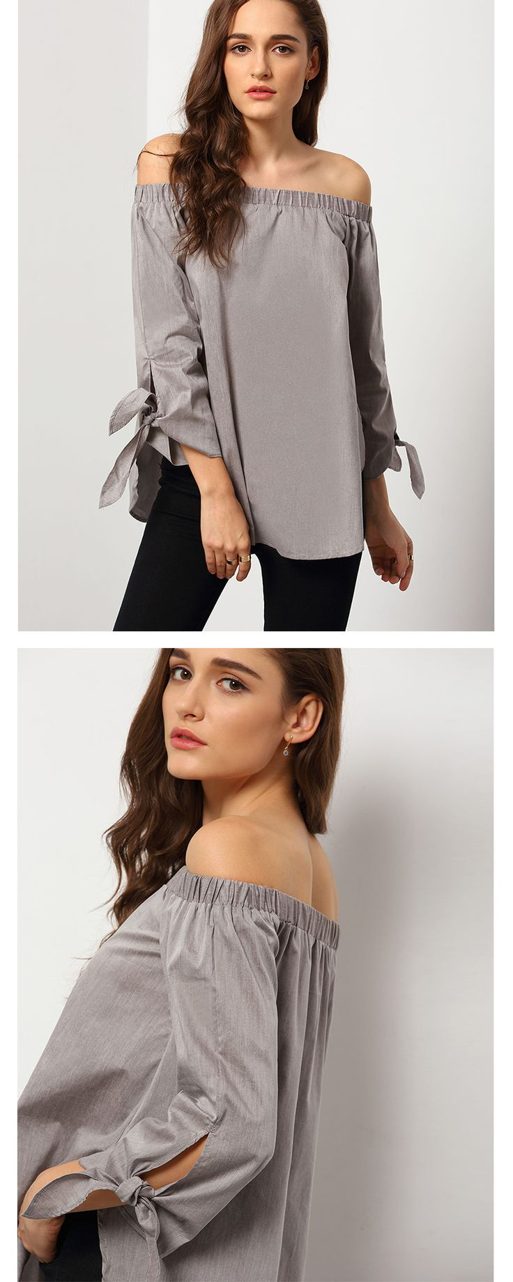 The Great Outfits : Grey Long Sleeve Off The Shoulder Knotted Blouse with black pants. Street Fashion!!