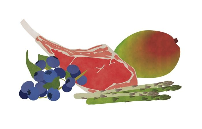 Fruits, Meat and Vegetables illustration